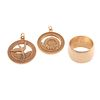 A Wide Gold Band & Two Charms in 14K