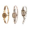 A Trio of Ladies' Vintage Wristwatches in 14K