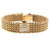 A Vintage 14K Geneva Woven Link Strap Wrist Watch
