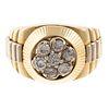 A Gent's Diamond Ring in 14K Bi-Color Gold