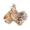 A Custom Made Diamond Saddle Ring in 14K