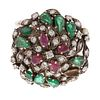 A Vintage Indian Gemstone Dome Ring in Sterling