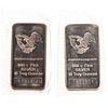 Two 10 Ounce Engelhard Tall Eagle Silver Bars