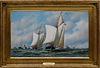 "Antonio Jacobsen Oil on Canvas ""America's Cup Trials, 1871"""