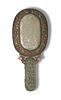 Chinese Gilt Silver and White Jade Hand Mirror