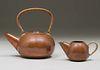 Modernist Hammered Copper Teapot & Creamer c1940s