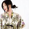 White, green, back kimono wrap jacket: Sumac, cosmos, impatiens