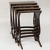 Set of Four Chinese Export Brown Lacquer and Parcel-Gilt Nesting Tables