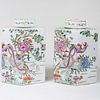 Pair of Large Famille Verte Porcelain Hexagonal Shaped Tea Caddies and Covers