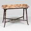 Modern Painted Faux Marble and Faux Bamboo Tôle Low Table