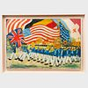 20th Century School: Marching Band with the American Flag