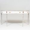 Louis XVI Style Brass-Mounted Painted Console with Verre Églomisé Mirrored Top, of Recent Manufacture