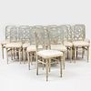 Set of Twenty Directoire Style Painted Dining Chairs