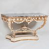 Louis XVI Style White Painted and Parcel-Gilt Console