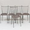 Set of Five Modern Metal and Brass Side Chairs, Possibly French