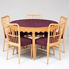 Modern Maple Games Table and Five Matching Side Chairs, Attributed to Paolo Buffa