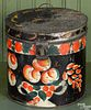 Large vibrant black toleware canister, 19th c.