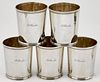 Set of five New York coin silver julep cups