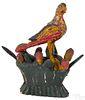Wilhelm Schimmel carved and painted eaglet on nes