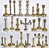 Miniature brass candlesticks & candelabra