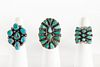 A Group of Three Navajo and Zuni Silver and Turquoise Rings