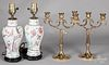 Pair of Chinese export porcelain table lamps