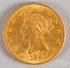 1907 ten dollar Liberty Head gold eagle coin.