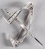 Swiss 18K white gold and diamond brooch