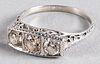 19K white gold and three stone diamond ring
