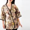 Quilted eco printed silk jacket, duster: Bronze, pink, green, yellow