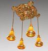 Quezal Art Nouveau Glass Chandelier c1910