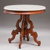 Victorian Walnut Marble-Top Oval Side Table c1890s