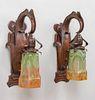 Pair Handel Hammered Copper Sconces c1910