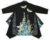 Kimono coat with plants, vines and moths.