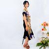 Long silk tunic dress: Hibiscus, gold, yellow