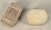 Two Small Silver Boxes, to include silver snuff box having mother of pearl covered bottom along with silver box having lift top open...