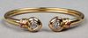 18K Gold Diamond & Ruby Heart Bangle Bracelet