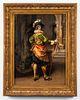 """Cesare Auguste Detti """"Cavalier"""" Oil on Panel"""