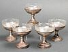 Sterling Silver Glass Lined Sherbets, Set of 5