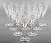 Etched Crystal Stemware Wine Goblets, Set of 10