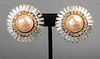 Chanel Faux Diamond & Mabe Pearl Earrings