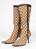 Gucci Designer Monogram Boots, Size 9