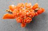 Vintage 14K Yellow Gold Coral Flower Brooch / Pin