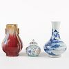 Grp: 3 20th c. Chinese Republic Porcelain Vases - Marked
