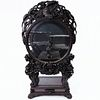 Japanese Export Deeply Carved Rosewood Moon Cabinet