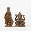20th c. Bronze Ganesha with Soapstone Figure of Immortal