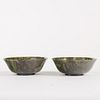 Pair Early 20th c. Chinese Spinach Jade Bowls