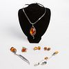Grp: Art Nouveau Amber Sterling Silver Jewelry & Accessories