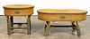 TWO BIELECKY BROTHERS WICKER TABLES, END & SIDE