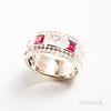 14kt White Gold, Tourmaline, White Sapphire, and Diamond Ring
